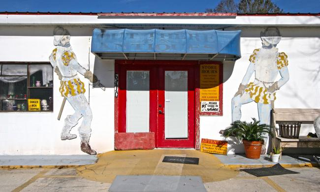 The front entrance to Out There Antiques in St. Johns Country.