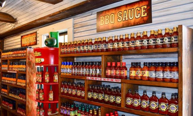 Shelves of sauces at Pepper Palace in St. Augustine, Fl