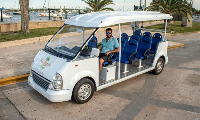 Pineapple Ride and Tour's electric vehicle for tours and transportatiion in St. Augustine.