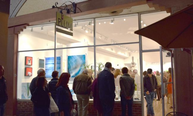 Crowds line up for Plum Contemporary Gallery.