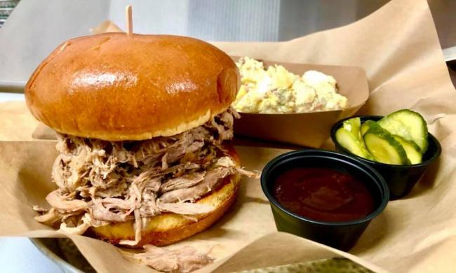 A pulled-pork sandwich from The Porkupine Pub in St. Augustine, FL