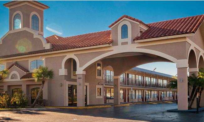 The exterior of Red Roof Plus in the I-95 region of St. Augustine.