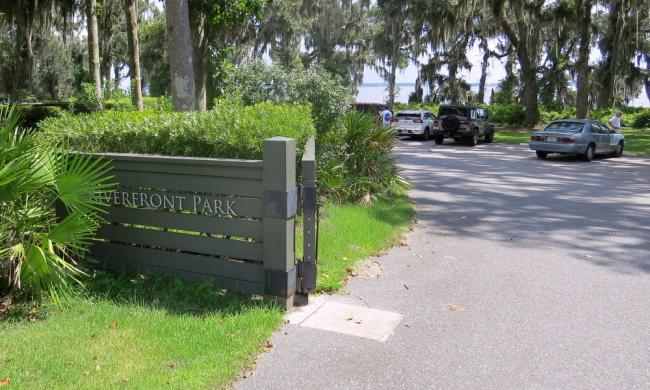 The sign and entrance to Riverfront Park along the St. Johns River, west of St. Augustine..
