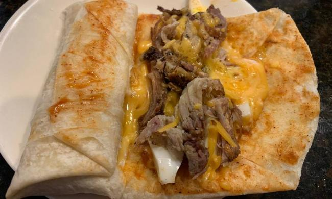 Sweet Smokey's BBQ Meat and Cheese in a wrapper.