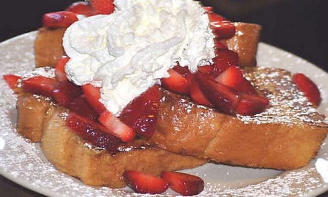 Strawberry French Toast at The Spot Café in St. Augustine, Florida.
