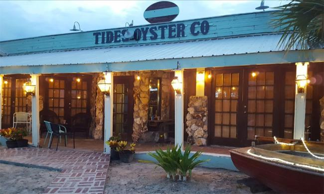 The entrance and porch at Tides Oyster Co. and Grill in St. Augustine.