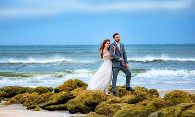 A couple celebrated their wedding near Marineland with Wedding Officiants of St. Augustine.