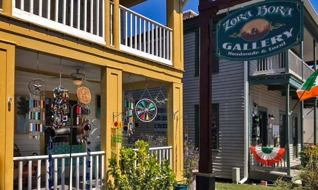 The entrance to Zora Bora Gallery on Cuna Street in St. Augustine.