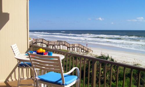 Patio overlooking the ocean at Summerhouse in Crescent Beach, Florida.