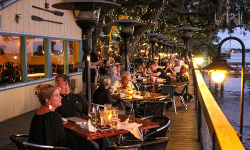 Enjoy the sunset over the Matazas River while dining on some delicious Old Florida cuisine at St. Augustine's Cap's on the Water.