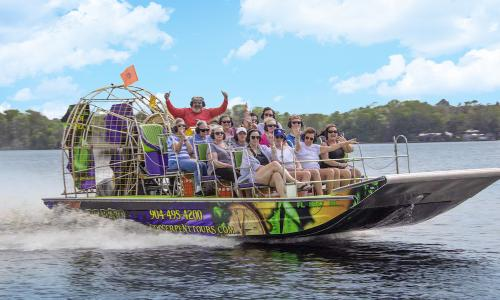 Visitors enjoying the rivers of St. Augustine aboard the Sea Dragon, west of St. Augustine.