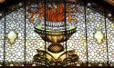 A stained-glass window depicting eternal flame at Flagler College, the former Ponce de Leon Hotel,  in St. Augustine.