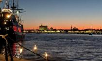 Looking toward St. Augustine from the water for the Regatta of Lights.