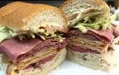 The corned beef is piled high on this freshly made sandwich from the Dilly-Dally Deli