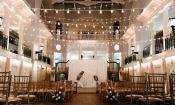 The Cafe Alcazar area bedecked for a wedding at Lightner Museum in St. Augustine.