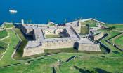 Aerial shot of Castillo de San Marcos in St. Augustine, Florida.