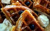 Waffles with blueberries, prepared at Late Risers Bar and Grille just a bit west of St. Augustine.