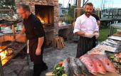Leña Chef, Matt Brown, preparing a night of seafood delicacies cooked over a live fire in St. Augustine.