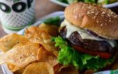Burger and chips from The Loop Restaurant in Fruit Cove, FL