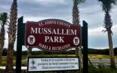 The entrance sign to Mussallem Beachfront Park in St. Augustine.