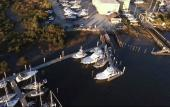 A bird's eye view of Oasis Boatyard on the San Sebastian River in St. Augustine.