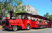 Ripley's Sightseeing Train take visitors around historic downtown St. Augustine.