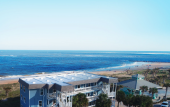 The Saint Augustine Beach House has 16 guest rooms directly on the ocean in Viilano Beach, Florida.