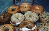 A tray of bagels from Schmagel's Bagels in st. Augustine.