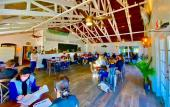 The bright and open interior of the St. Augustine Fish House and Oyster Co.