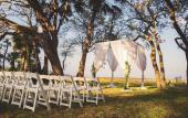 An outdoor wedding outfitted by St. Johns Illuminations in St. Augustine, FL.