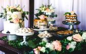 Cakes and dessert table created by Sweet Weddings Cake Designs in St. Augustine, FL.