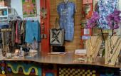 Displays of clothing and accessories at the counter at Wild Heart Boutique in St. Augustine.